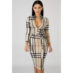 Dresses & Skirts - PLAID PRINT BODYCON MIDI DRESS